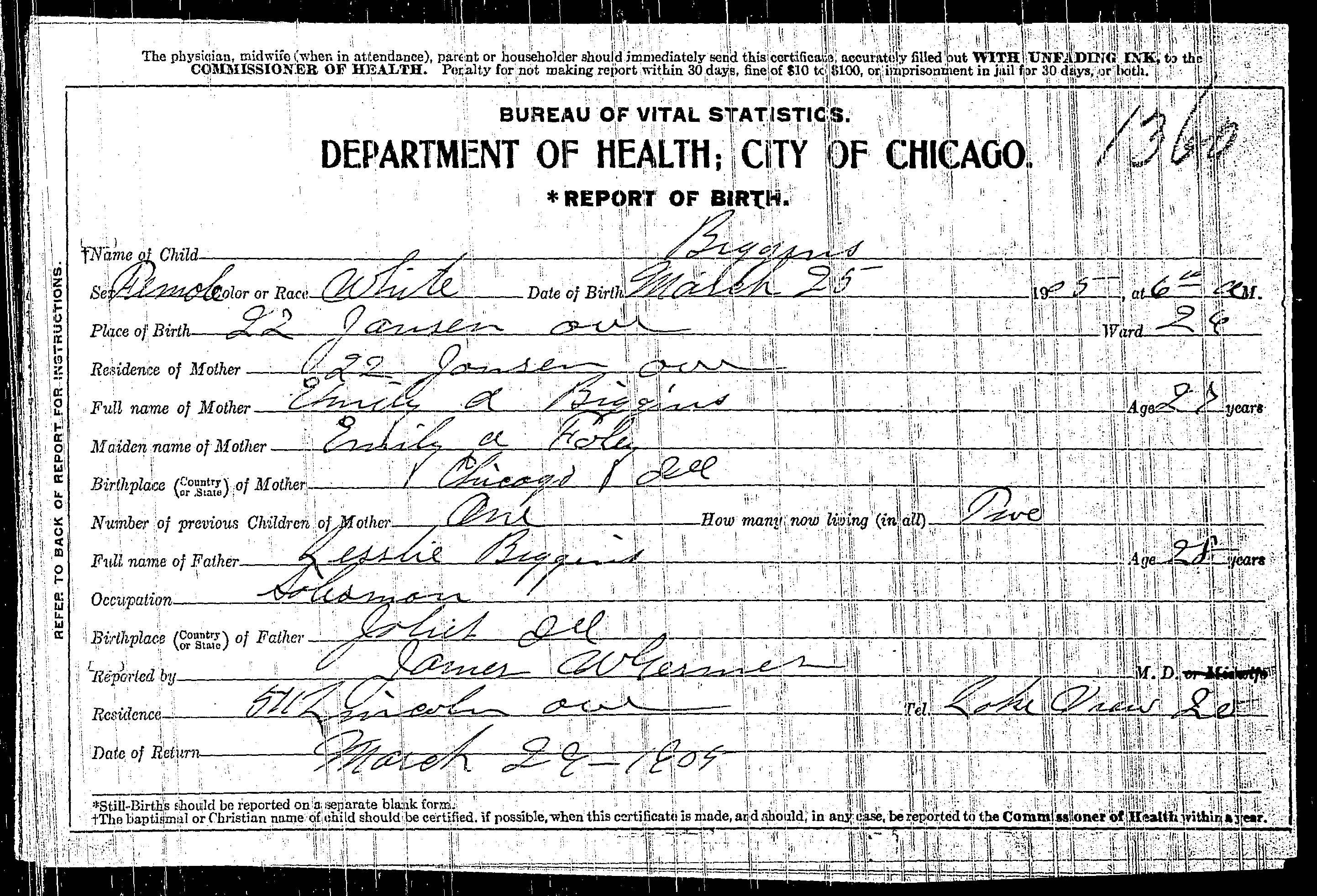 Leslie and emily foy biggins family emilys birth certificate aiddatafo Choice Image