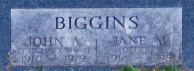 Tombstone for Jane and Al Biggins