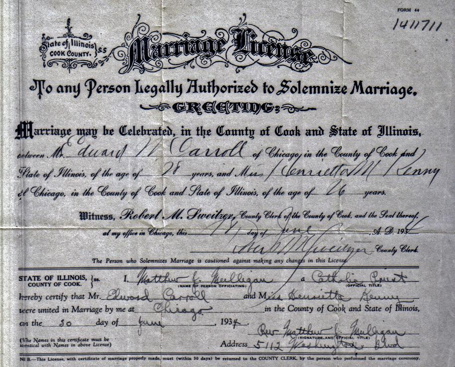 Edward and Henrietta Kenny Carroll Family