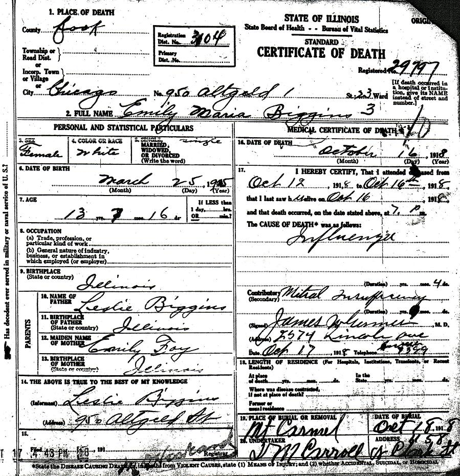 leslie and emily foy biggins family Thomas Alva Edison Inventions death certificate cemetery record