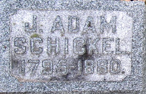 Tombstone for J. Adam Schickel