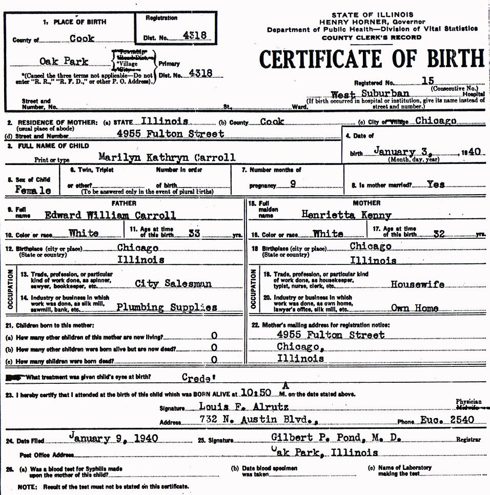 Peter and marilyn carroll biggins family birth certificate xflitez Gallery