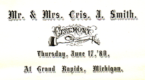 Smith-Koch wedding, 1880